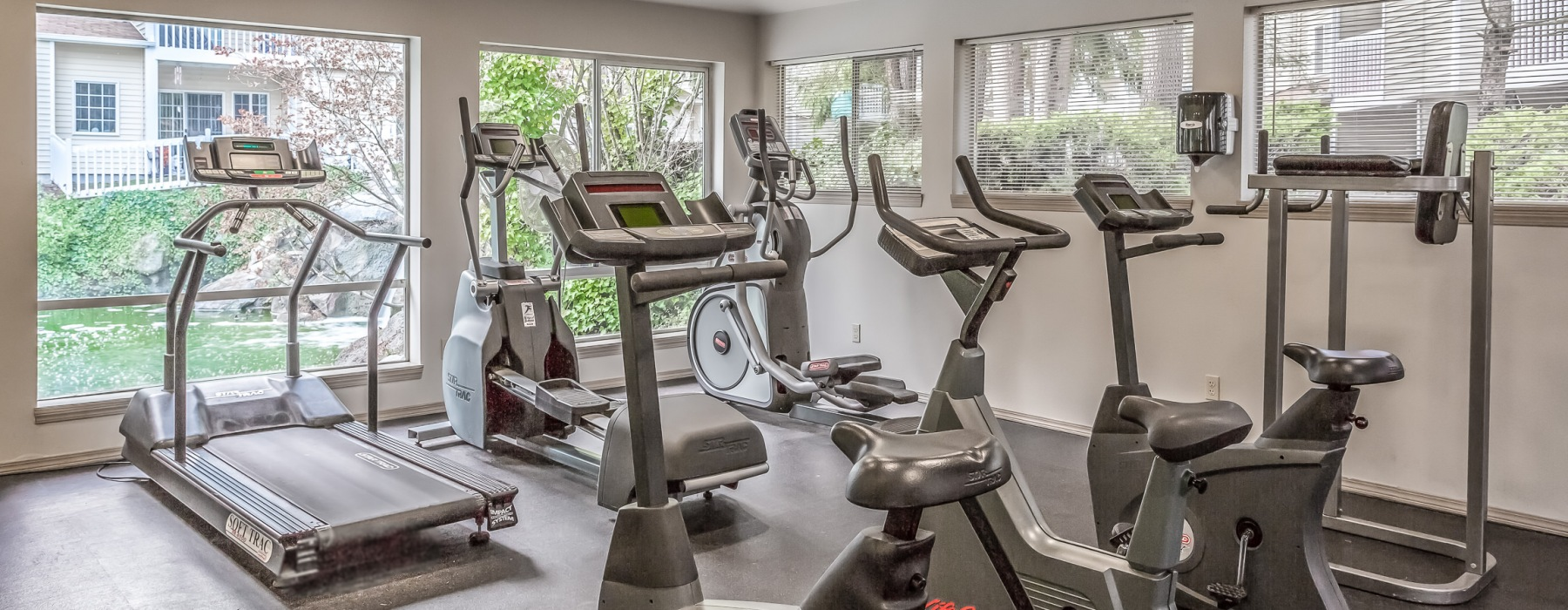 Fitness center with cardio machines facing a window